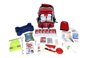 Pet survival kit in red backpack